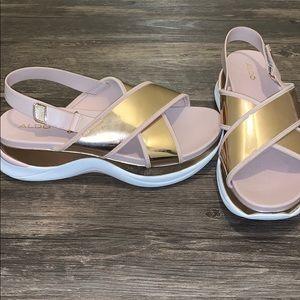 Rose Gold Platform Aldo Sandals